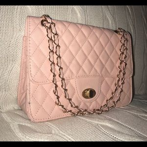 Handbags - Baby light pink shoulder chair quilted purse bag
